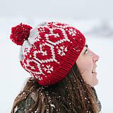 Čiapky - červená čiapka so srdiečkami - 10285884_