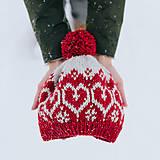 Čiapky - červená čiapka so srdiečkami - 10285886_