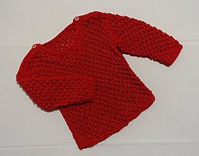 Detské oblečenie - Pletený detský pulóver červený - 10288258_