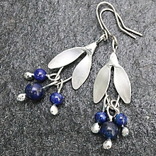 Náušnice - Kvietky na uši - s lapisom lazuli - 10287492_