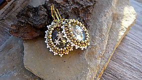 - Šité zlato biele náušnice s vločkami, č. 2551 - 10285948_