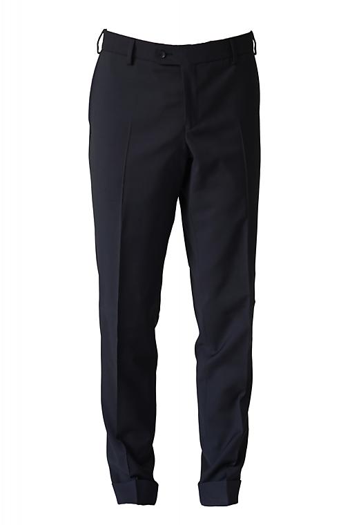 MILAN I. čierny oblek s mikrovzorom half canvas, nohavice s manžetou