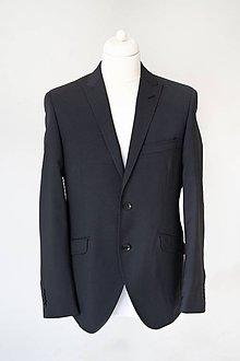 Oblečenie - MILAN I. čierny oblek s mikrovzorom half canvas, nohavice s manžetou - 10285534_