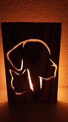 Svietidlá a sviečky - Drevený svietnik - pes a mačka - 10286297_
