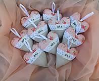 Darčeky pre svadobčanov - Apricot Love, ... svadobné srdiečka s iniciálkami - 10287603_