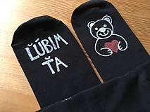"""Obuv - Maľované čierne ponožky s nápisom: """"Ľúbim Ťa / obrázok macka :)"""" (42-43) - 10287554_"""