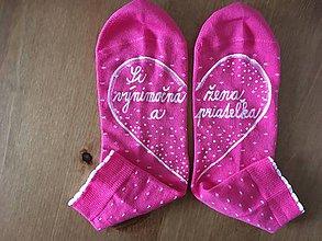 """Obuv - Maľované čierne ponožky s nápisom: """"Si výnimočná žena a priateľka :)"""" (Ružové 37-41) - 10288392_"""