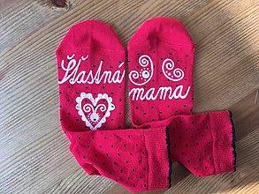 Obuv - Maľované ponožky pre MAMU (červené bodkované ponožky) - 10288427_