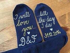 """Iné - Maľované ponožky k výročiu svadby s nápisom: """"I will love you/ till the day I die + dátum svadby"""" - 10288519_"""
