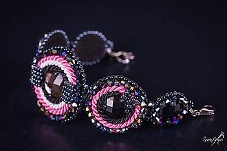 Náramky - náramok kruhy black/pink - 10290945_