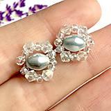 Náušnice - Silver & White Crystal Beaded Earrings / Drôtované náušnice bielo strieborné /1419 - 10289430_