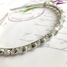 Ozdoby do vlasov - Silver & White Crystal Beaded Headband / Korálková čelenka bielo - strieborná /1418 - 10289166_