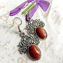 Náušnice - Sandstone Flower Filigree Earrings / Starostrieborné náušnice so synt. slnečným kameňom /1420 - 10290130_