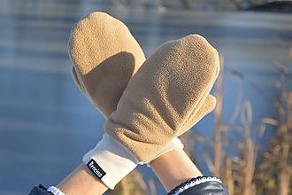 Rukavice - Dámske zimné rukavice palčiaky béžovej farby - 10291444_