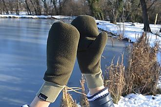 Rukavice - Dámske zimné rukavice palčiaky zelenej farby - 10291514_
