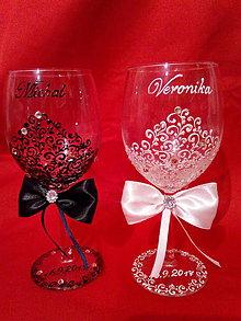 Nádoby - Svadobné poháre Víno bielo-čierne - 10289946_