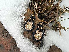 Náušnice - Zlato- čierna Lenka - soutache earring - 10290504_
