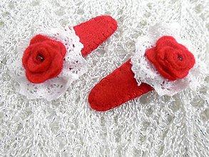 Detské doplnky - Detské pukačky M (Červená ruža s čipkou) - 10289104_