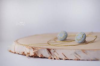 Náušnice - Zlaté venčeky v sv.modrom objatí - malé - 10289301_