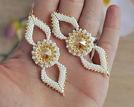 Náušnice - Tiffany - elegantné náušnice (Krémová) - 10291495_