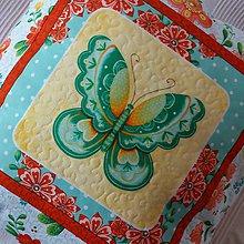 Úžitkový textil - Návliečka na vankúš s motýľom tyrkysovým - 10290588_