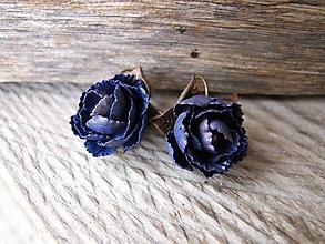 Náušnice - Modrozlaté kvety - 10289016_