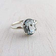 Prstene - Marec: SeaStar, hneď k odberu / Akvamarín, AU585 (biele zlato) - 10289227_