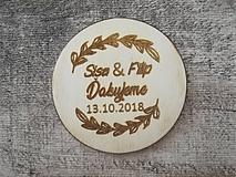 Darčeky pre svadobčanov - Okrúhla svadobná magnetka - 10290571_