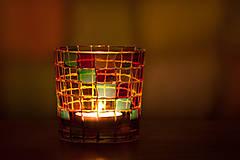 Svietidlá a sviečky - VÝPREDAJ - Svietnik - mozaika - 10289644_