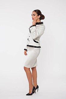 Kabáty - Dámske sako s ozdobnou sieťkou smotanové à la Chanel - 10291822_