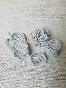 Úžitkový textil - Háčkovaný kúpeľňový set zo 100 % organickej bavlny (Modrá) - 10290011_