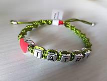 Náramky - Saténové náramky Tatry - srdce - 10289794_