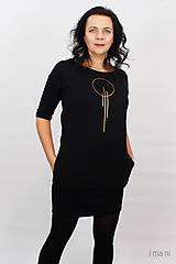 Šaty - Dámske šaty s vreckami čierne z teplákoviny M15 IO23 - 10290744_