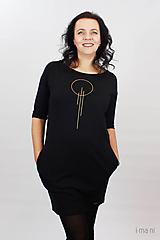 Šaty - Dámske šaty s vreckami čierne z teplákoviny M15 IO23 - 10290745_