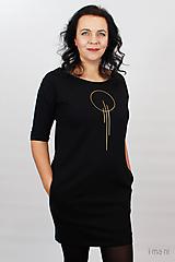 Šaty - Dámske šaty s vreckami čierne z teplákoviny M15 IO23 - 10290750_