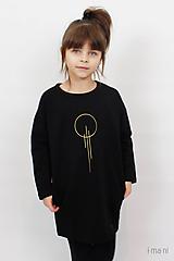 Detské oblečenie - Detské šaty s vreckami čierne z teplákoviny M15 IO23 - 10290801_