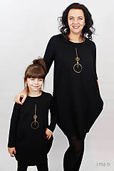 Detské oblečenie - Detské šaty s vreckami čierne z teplákoviny M08s IO24 - 10290869_