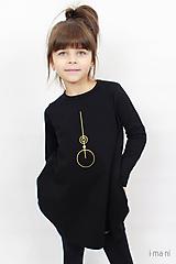 Detské oblečenie - Detské šaty s vreckami čierne z teplákoviny M08s IO24 - 10290870_