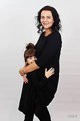 Detské oblečenie - Detské šaty s vreckami čierne z teplákoviny M08s IO24 - 10290872_