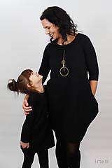 Detské oblečenie - Detské šaty s vreckami čierne z teplákoviny M08s IO24 - 10290873_