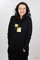 Šaty - Dámske mikinové šaty s predným vreckom čierne z teplákoviny M16 IO25 - 10290889_