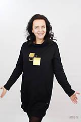 Šaty - Dámske mikinové šaty s predným vreckom čierne z teplákoviny M16 IO25 - 10290891_