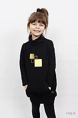 Detské oblečenie - Detské mikinové šaty s predným vreckom čierne z teplákoviny M16 IO25 - 10290927_
