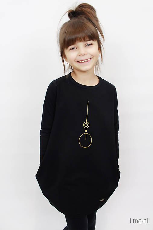 Detské šaty s vreckami čierne z teplákoviny M08s IO24