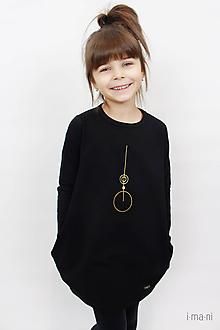 Detské oblečenie - Detské šaty s vreckami čierne z teplákoviny M08s IO24 - 10290865_