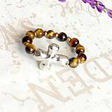 Prstene - Elastic Rosary Tiger Eye Antique Silver Ring / Elastický prsteň - ruženec tigrie oko, starostriebro /1421 - 10292447_