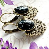 Náušnice - Vintage Snowflake Obsidian Earrings / Bronzové náušnice s vločkovým obsidiánom /1424 - 10293304_