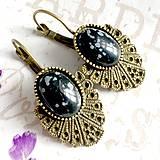 Náušnice - Vintage Snowflake Obsidian Earrings / Bronzové náušnice s vločkovým obsidiánom /1424 - 10293309_