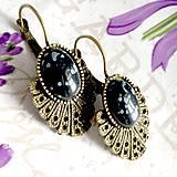 Náušnice - Vintage Snowflake Obsidian Earrings / Bronzové náušnice s vločkovým obsidiánom /1424 - 10293311_