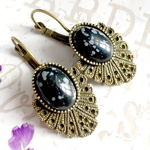 Vintage Snowflake Obsidian Earrings / Bronzové náušnice s vločkovým obsidiánom /1424